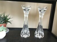 Lenox crystal candle holders pair, tulip design, gorgeous!