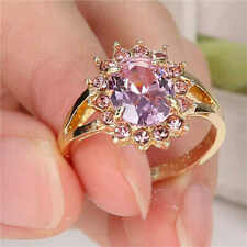 ❤️Ring Size R 9ct Gold Over Pink Sapphire❤️Oval Statement UK FREE Post Silver❤️
