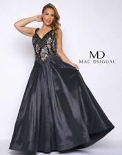 NEW MAC DUGGAL Black Beaded Lace Deep V-Neck Taffeta Ball-Gown Dress 18W 77181F