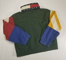 VTG 90s Tommy Hilfiger SPELL OUT Flag Mens XL Windbreaker Hood Jacket Colorblock