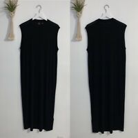 Eileen Fisher The Fisher Project Black Maxi Dress L Large Silk Sleeveless