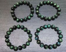 Natural Mexico Green Obsidian Gemstone Round Beads Elastic Bracelet 12mm  S1