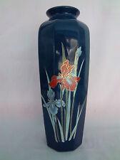 "Vase Porcelain Japan Beauty Colbolt Blue Color Gold Trim Iris Flower 11"" hgh"