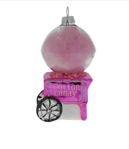 Hot Pink Cotton Candy Floss Glass Bauble Christmas Tree Decoration Fun Ornament