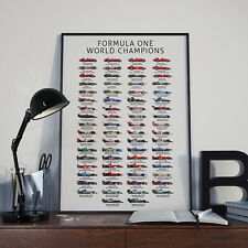 Formula 1 F1 World Champions history poster - Formula One (Updated for 2019)