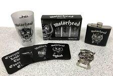 MOTORHEAD Drinkware: Warpig Glass, Coasters , Shot Glasses, Bottle Opener, Flask