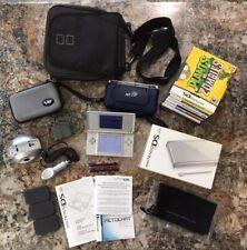 Nintendo DS Lite Silver Bundle-Travel Bag-Nerf Case-7 Games-Boxes-Accessories