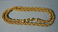VINTAGE MONET GOLD PLATE MASSIVE TWISTED ROPE CHAIN NECKLACE  29,5'' LONG