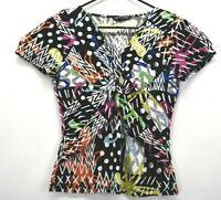 Cable & Gauge Womens Medium V-Neck Short Sleeve Stretch Viscose Blouse Shirt Top