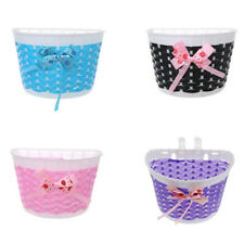 Bicycle Basket Children Bike Plastic Knitted Bow Knot Front Handmade Bags Rack