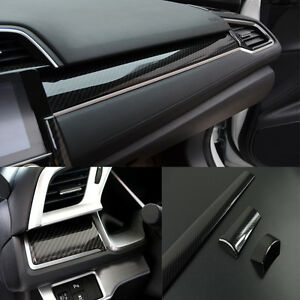 3PCS Carbon Fiber Center Dashboard Cover Trim Sticker For Honda Civic 2016-2021