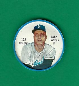 1962 Salada Baseball Coins - #172 John Podres - Dodgers - ScoCards