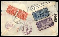 ECUADOR QUITO AMERICAN EMBASSY DECEMBER 1944 REGISTERED AIR MAIL AD COVER TO DAV