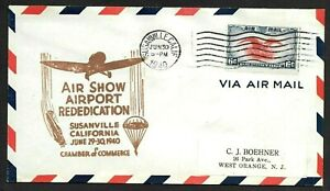 Susanville, California CA, Air Show & Airport Dedication Cachet Cover 1940