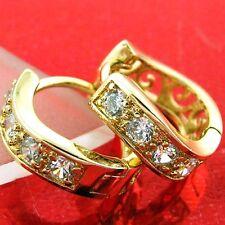FS574 GENUINE 18K YELLOW G/F GOLD SOLID DIAMOND SIMULATED HUGGIE HOOP EARRINGS