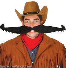 Mens Extra Large Black Wild West Cowboy Moustache Mustache Fancy Dress Costume