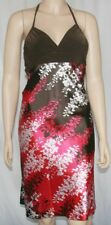 New silky floral print halter dress with contrasting brown surplice neckline S
