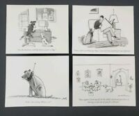 Set of 4 The New Yorker Dogs HUMOROUS Blank Greeting Note Card & Envelopes 5x4,