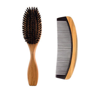 2in1 Boar Hair Brush & Horn Wood Comb Kit Makeup Hair Care Styling