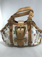 Louis Vuitton Limited Edition White Monogram Multicolor Theda GM Satchel Handbag