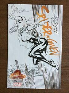 Spider-Gwen #1 B&W Sketch Retailer JSC Variant 2015 Marvel Comic Book Spidergwen