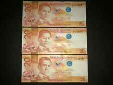 Philippines NGC 2016F 20 Pesos (Mismatch SN Error) 3 consecutive SN banknotes -A