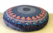 35'' Round Pillow Cover Cotton Floor Ottoman Vintage Embroidered Patchwork