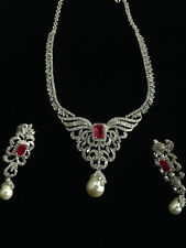 Vintage 45.71 Cts Natural Diamonds Ruby Pearl Necklace Earrings Set In 14K Gold