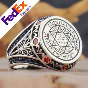 Seal of Solomon 925 Sterling Silver Turkish Luxury Men's Ruby Ring All Sizes