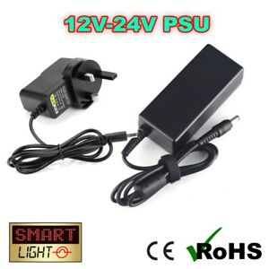 12V/24V DC 3-Pin UK Power Supply/Adaptor LED Strips/CCTV/Label Printers - 2.1mm