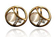 White Opal Imitation Stone Rhinestones Bridal Round Circle hollow Earrings E1424