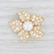 2.25ctw VVS Diamond & Pearl Flower Brooch 18k Yellow Gold Floral Statement Pin