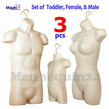 3 Pack Male Female Toddler Torso Dress Form Mannequin Set in Flesh For Hanging