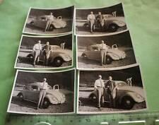 sechs tolle alte Fotos Mann mit Oldtimer VW Käfer Export - 60-70er Jahre ??