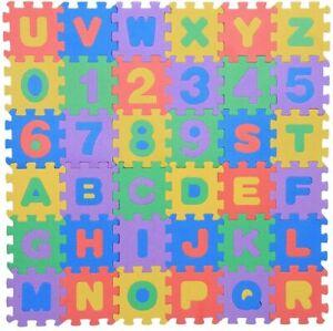 Tapis Puzzle Jeu Educatif Enfant en Mousse Carreaux 36 Pcs Chiffres Lettres Bebe