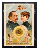 Historic Merrick's sewing thread w/- Grover Cleveland Advertising Postcard