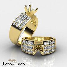 Multi Shape SemiMount Princess Round Diamond Engagement Ring 18k Yellow Gold 1Ct