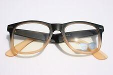 80's Retro Vintage Sun-glasses Matte 2 tone Black Peach clear lens Nerd