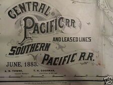 1883 CENTRAL SOUTHERN PACIFIC WESTERN RR USA MAP RAND MCNALLY INDIAN LAND TX WA