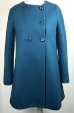 Zara Basic Wool Blend Pea Coat Teal Size L (10) Blue Double Breasted