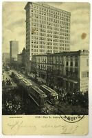 Postcard Memphis TN Main Street View Looking North Trolley Cars 1907 Undivided