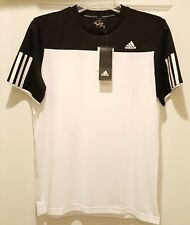 Adidas Youth Performance Tennis Short Sleeve Club Tee, Size M, White/Black, NWT