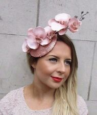 Rose Gold Blush Pink Sequin Orchid Flower Fascinator Hat Wedding Hair Clip 2726