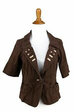 URBAN OUTFITTERS Jacket S Brown LUX Unlined Cotton Stretch Blazer Crop Cropped