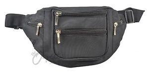 Black microfibre Bum Waist Bag with front pocket & Zip Sections Belt Adjustable