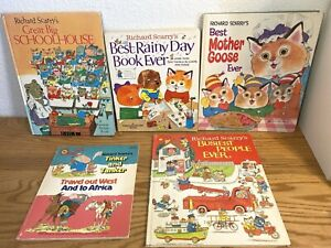 RICHARD SCARRY Book Lot of 5 ~ Schoolhouse, Best Word, Busiest People, Rainy Day