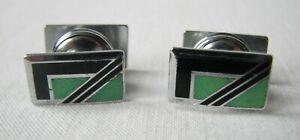 Vintage Deco Enamel Cufflinks Snap Popper Green Black Chrome