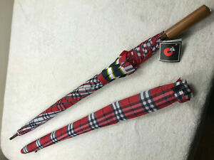 Charming Co Ltd Windproof Golf Umbrella Wooden Handle Plaid Red White Black NEW