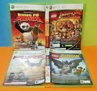 LEGO Indiana + Batman , Pure + Kung Fu Panda - Microsoft XBOX 360 Game Lot Works