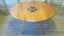 VINTAGE ERCOL WINDSOR BLONDE OVAL DROP LEAF DINING TABLE MODEL 384
